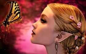 Обои девушка, цветы, лицо, бабочка, волосы, эльф, серьги