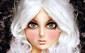 Обои глаза, взгляд, бабочка, волосы, кукла, блондинка, девочка