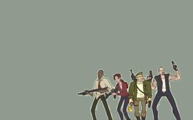 Картинка оружие, люди, минимализм, пушки, Left 4 Dead, Коктейль Молотова