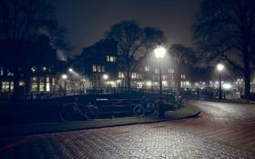 Обои деревья, мост, велосипед, дома, тропа, Амстердам, канал