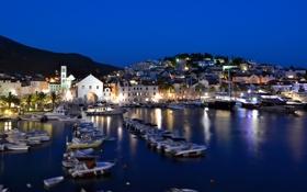 Картинка море, город, ночные огни, яхты, лодки, порт, парусники