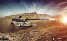 Обои выстрел, танк, танки, WoT, Мир танков, tank, World of Tanks