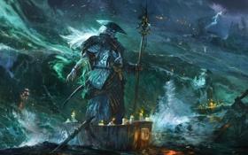 Обои море, шторм, молнии, дух, лодки, шляпа, свечи