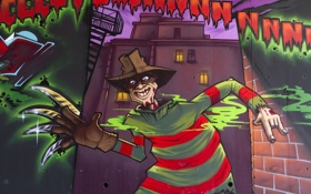 Обои стена, граффити, Фредди Крюгер, Graffiti, Freddy Krueger