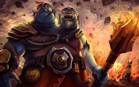 Обои огр, dota 2, skin, ogre magi, двухголовый, Aggron Stonebreaker