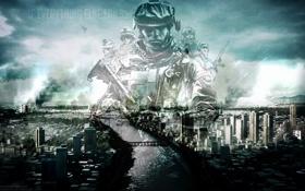Обои город, солдат, battlefield