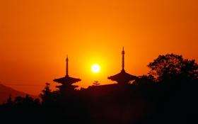 Обои небо, солнце, деревья, закат, азия, склон, силуэт