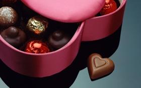 Картинка отражение, коробка, подарок, сердце, конфеты, сердечко, сладкое