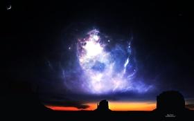 Обои небо, звезды, свет, закат, скалы, вечер, горизонт