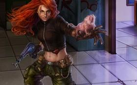 Обои девушка, оружие, кровь, арт, зверек, рыжая, раны