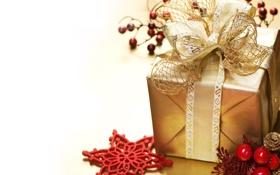 Обои коробка, подарок, звезда, Рождество, бант, праздники, золотая