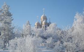 Обои зима, снег, пейзаж, купола, церкви