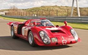 Картинка красный, холмы, Alfa Romeo, передок, альфа ромео, 1968, гоночный болид
