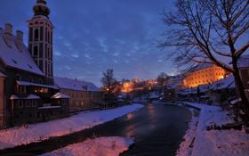 Обои зима, снег, ночь, огни, река, дома, Чехия