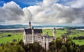 Обои небо, облака, пейзаж, природа, замок, Германия, Бавария