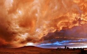 Картинка закат, облака, небо, холм, тучи