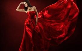Картинка красный, шелк, платье, red, dress, woman, beautiful
