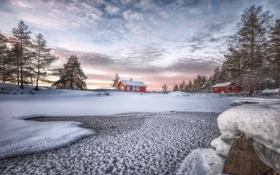 Картинка зима, озеро, домики