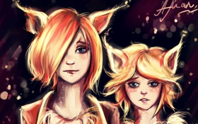 Обои сестры, арт, лисы, девочки