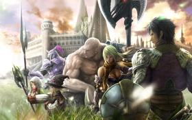Обои трава, щит, rinzo, город, final fantasy, арт, персонажи