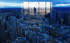 Обои небо, стекло, отражение, здания, дороги, Город, силуэт