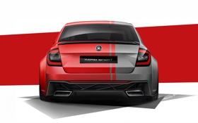 Картинка машина, авто, красный, рисунок, арт, Skoda Rapid Sport