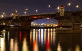 Картинка город, река, ночь, мост, огни