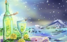 Картинка цветы, бабочка, бокал, бутылка, стрекоза, лепестки, арт
