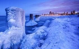 Картинка лед, зима, снег, ночь, огни, Чикаго