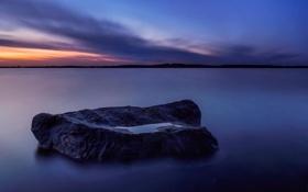 Картинка океан, камень, сумерки, рассве