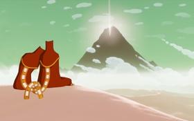 Обои песок, солнце, пустыня, гора, арт, фигуры, сидя