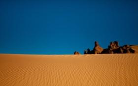 Обои песок, камни, пустыня, небо, сахара, алжир