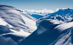 Обои зима, снег, пейзаж, природа, обои, гора, край
