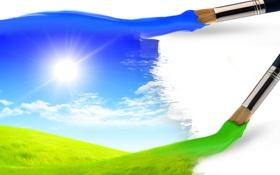 Обои трава, небо, солнце, лето, креатив, кисти