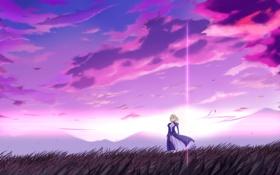 Обои поле, облака, ветер, блеск, горизонт, арт, Landscape