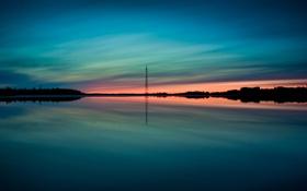 Обои вода, отражение, неба, высоковльтка, глубина заката