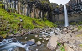 Картинка река, ручей, камни, скалы, водопад