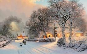 Обои люди, дорога, зима, свет, деревня, собака
