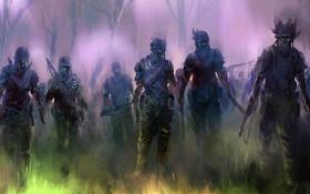 Картинка лес, арт, зомби, солдаты, экипировка, мертвые