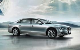 Картинка серебро, люкс, Audi A8, премиум седан