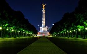 Обои ночь, германия, night, берлин, germany, berlin, Victory Column