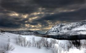 Обои зима, небо, снег, горы, тучи, река