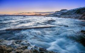 Картинка море, огни, берег, вечер, залив, сумерки