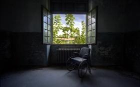 Обои комната, окно, каляска