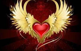 Картинка абстракция, узор, сердце, крылья