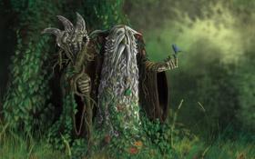 Обои лес, листья, птица, старик, посох, борода, седой