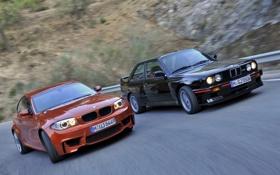Обои дорога, оранжевый, чёрный, бмв, купе, BMW, вираж