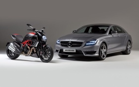 Картинка машина, Mercedes-Benz, мотоцикл, мерседес, AMG, передок, ducati