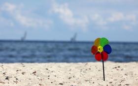 Обои песок, море, пляж, небо, вода, облака, синий