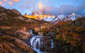 Картинка осень, деревья, горы, река, камни, краски, поток